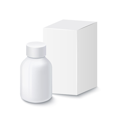 white pills: Medical white plastic bottle for pills with white cardboard packaging, isolated on white background Illustration