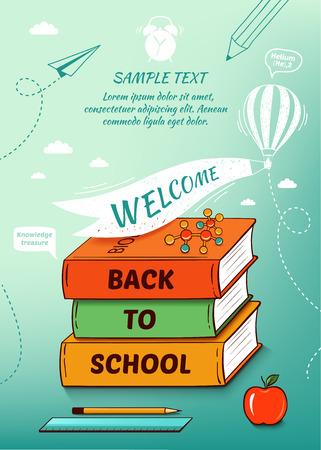 ni�os con pancarta: De nuevo al cartel de la escuela, fondo de educaci�n. Ilustraci�n vectorial Vectores