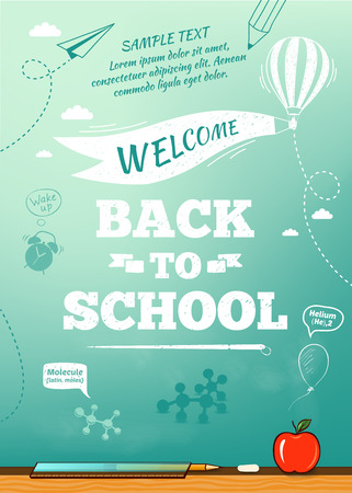 Back to school poster, education background. Vector illustration Çizim