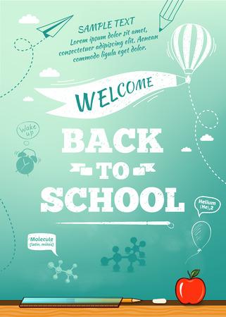 Terug naar school poster, onderwijs achtergrond. Vector illustratie