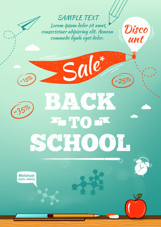 scuola: Torna a scuola vendita poster. Illustrazione vettoriale
