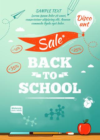 niño escuela: Volver a la venta de la escuela cartel. Ilustración vectorial