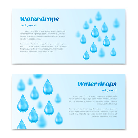 bubble water: Water drops background. Banners, labels set mineral water, spring water, pure organic water. Vector illustration