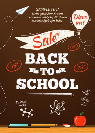 Terug naar school te koop poster. Vector illustratie Stock Illustratie