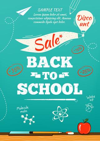 Back to school sale poster. Vector illustration Illustration