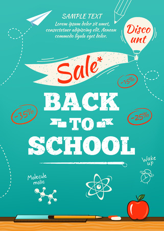 Back to school sale poster. Vector illustration Vettoriali