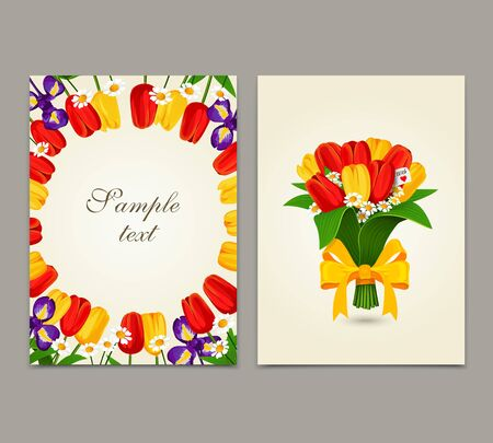 red tulip: Flowers background, bouquet tulips. Template design of flyer, brochure