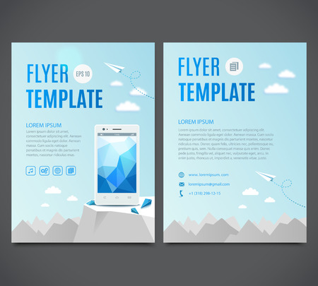 smartphone business: Business flyer template with white smartphone against the backdrop of the white mountains. Vector illustration
