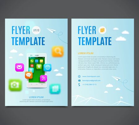mobile application: Template design flyer, white smartphone with cloud of application colorful icons