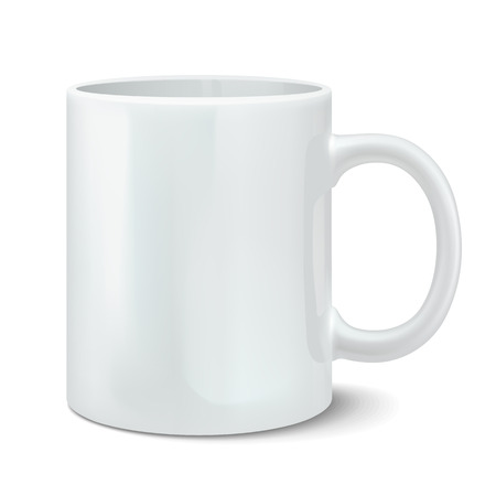 Vector illustration of photorealistic white cup Vettoriali