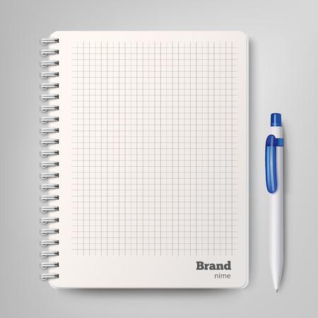 Spiraal notebook met de witte balpen. Vector illustratie