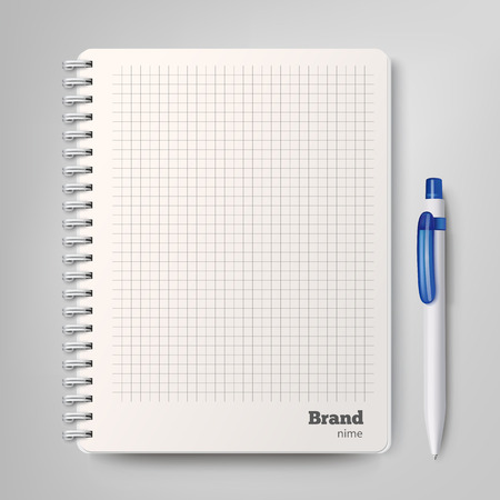 Spiral notebook with the white ballpoint pen. Vector illustration