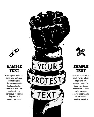 clenched: Raised fist held in protest. Vector illustration
