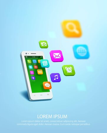 White smartphone with cloud of application colorful icons. Vector illustration
