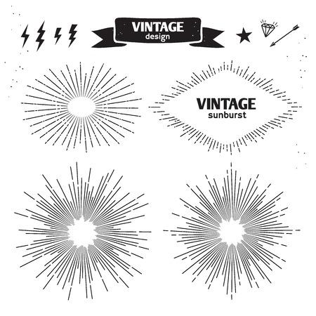 lucero: Conjunto de la vendimia Sun Burst. Vector de luz monocroma rayos