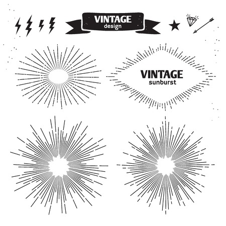 white star line: Set of Vintage Sun Burst. Vector monochrome light rays