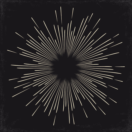 Vintage monochrome sun, sunburst, starburst, bursting rays. Vector illustration