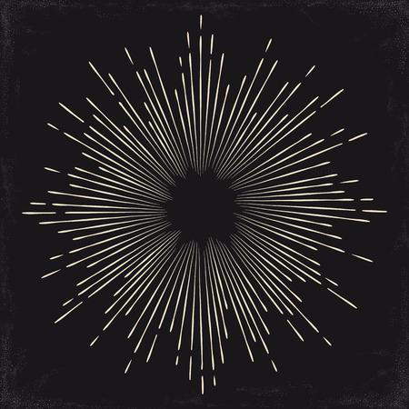 Vintage zwart-wit zon, zonnestraal, starburst. vector illustratie