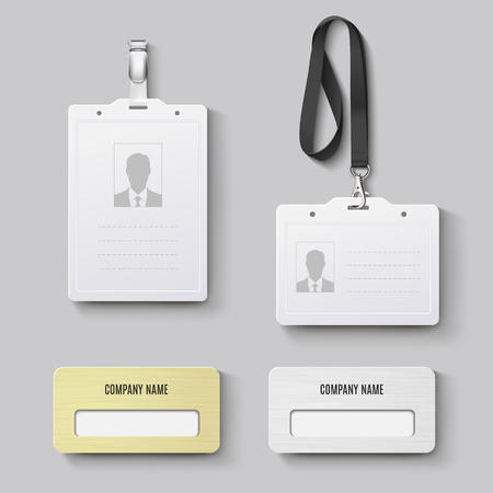White blank plastic with clasp lanyards identification badge and metal gold, silver id badge. Isolated vector illustration Vettoriali