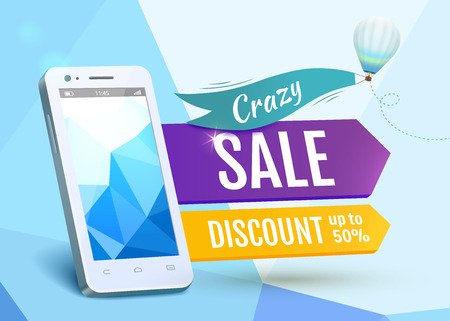 discount banner: Sale Smartphone, poster design. Vector illustration