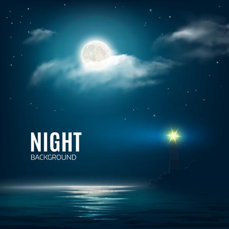 Nacht natuur bewolkte hemel met de sterren, de maan en de kalme zee met vuurtoren. Vector illustratie