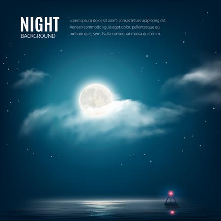 noche y luna: La naturaleza de fondo Noche cielo nublado con estrellas, la luna y el mar en calma con el faro. Ilustración vectorial
