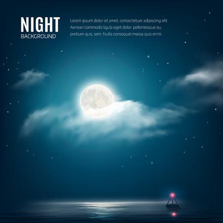 Night nature background cloudy sky with stars, moon and calm sea with beacon. Vector illustration