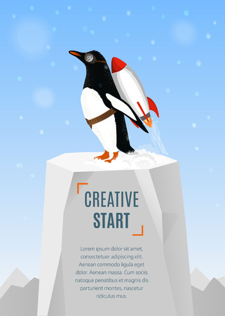 d�coller: Creative start and creative idea concept. Penguin begins to take off with the help of Rocket. Hand drawn illustration