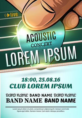 lead guitar: Vector template of modern poster for a acoustic concert or a rock festival