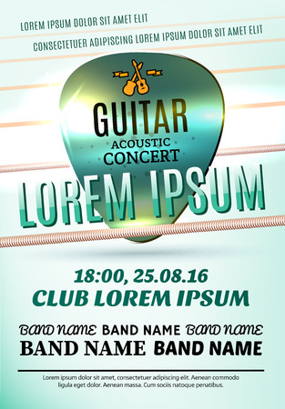 country music: Vector template of modern poster for a acoustic concert or a rock festival