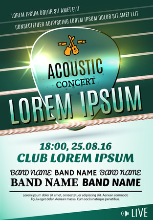 Modern poster for a acoustic concert or a rock festival. Vector illustration Vettoriali