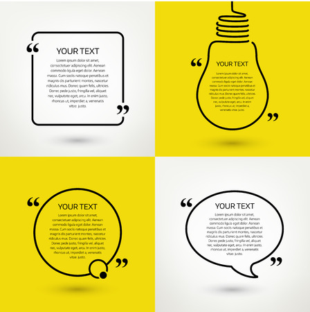 textbox: Set of quote text frames. Vector format