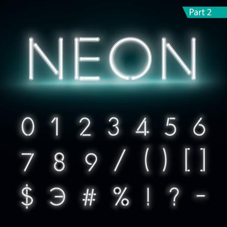 Neon alphabet. Glowing font. Vector format part 2 Illustration