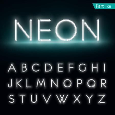 Neon alphabet. Glowing font. Vector format part 1 Vettoriali