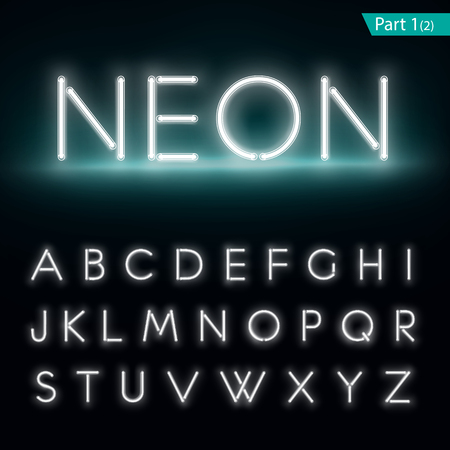 white letters: Neon alphabet. Glowing font. Vector format part 1 Illustration