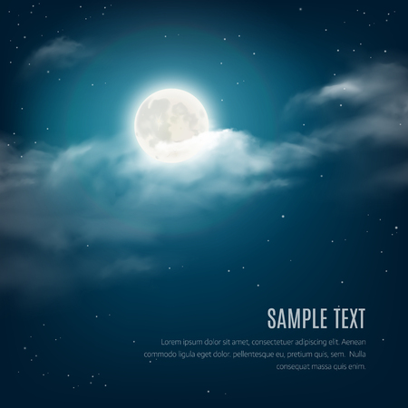 romantic: Night sky background, cloudy sky with the shining stars and moon. Vector illustration