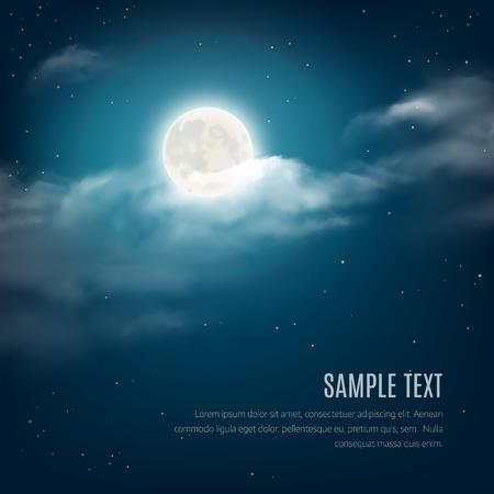 romantique: Nuit fond de ciel, ciel nuageux avec les �toiles brillantes et de la lune. Vector illustration Illustration