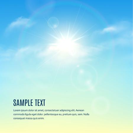 Blauwe lucht met wolken en zon met stralen. vector achtergrond Stock Illustratie
