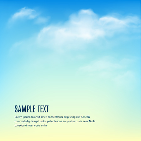 blue white: Blue sky with clouds. Vector background Illustration