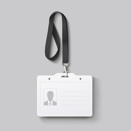 Badge d'identification avec la lanière. Vector illustration Banque d'images - 45776622