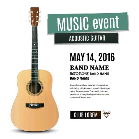 Muziek concert poster met akoestische gitaar. vector illustratie Stock Illustratie