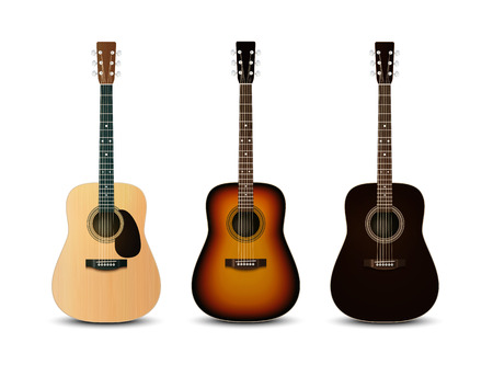 Realistic acoustic guitars. Vector set