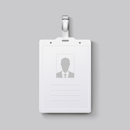 plastic card: Identification badge with clasp