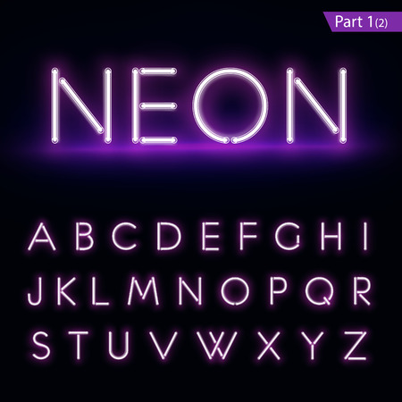 Realistic neon alphabet. Purple, blue glowing font. Vector format