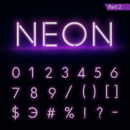 Realistic neon alphabet. Purple, blue glowing font.