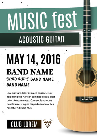 poster: Music festival poster with acoustic guitar. Vector illustration