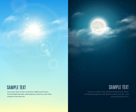sunny season: Day and night illustration. Sky background