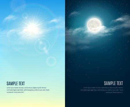 ensolarado: Dia e noite ilustração. Fundo do céu Ilustração