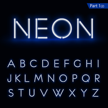 Blue glowing font from a Neon tube. Vector format