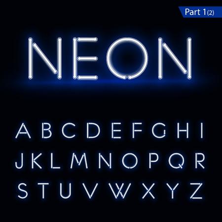tipos de letras: Fuente que brilla intensamente azul de un tubo de ne�n. El formato del vector